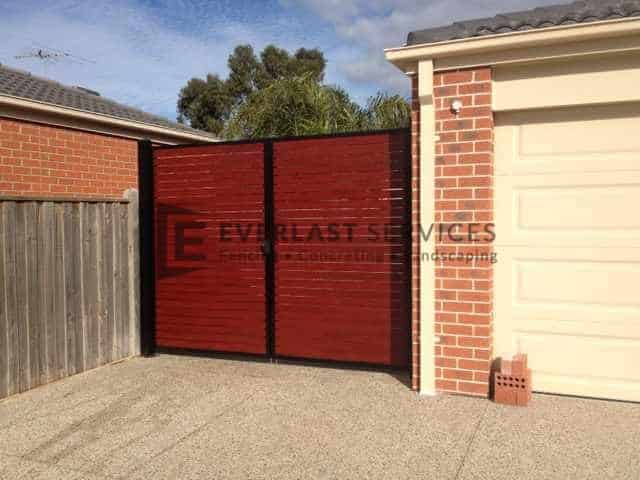SWG12 - Blkac Frame + Jarrah Slats Double Gate - Hoppers Crossing
