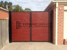 SWG13 – Blkac Frame + Jarrah Slats Double Gate Front View – Hoppers Crossing