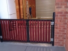 SWG17 – Black Frame + Jarrah Slats Double Gate – Werribee