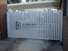 DG10 – Pearl White Vertical Slats Double Gate – Werribee