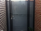 SS24 – Black Post + Frame with Woodland Grey Slats Single Gate + 2 Side Panels