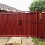 SG24 - Red Oxley Ring Sliding Gate Cladded with Colourbond - Hoppers Crossing