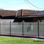 SF21 - Black Post + Pearl White Steel Picket Fencing - Werribee