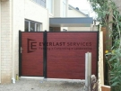SS7 – Black Post + Frame with Jarrah Slats no Gap Single Gate with Panel