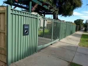 Green Steel Fencing with Gate