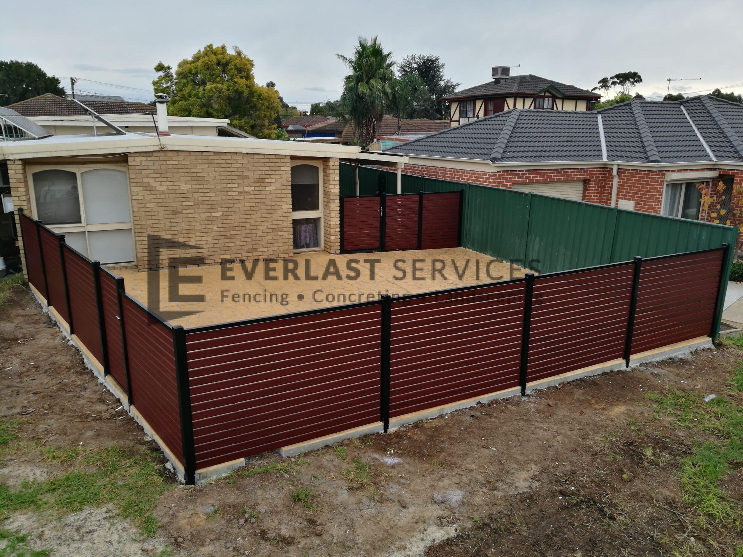 A151 - Jarrah Slats Boundary Fencing Stencil Concrete