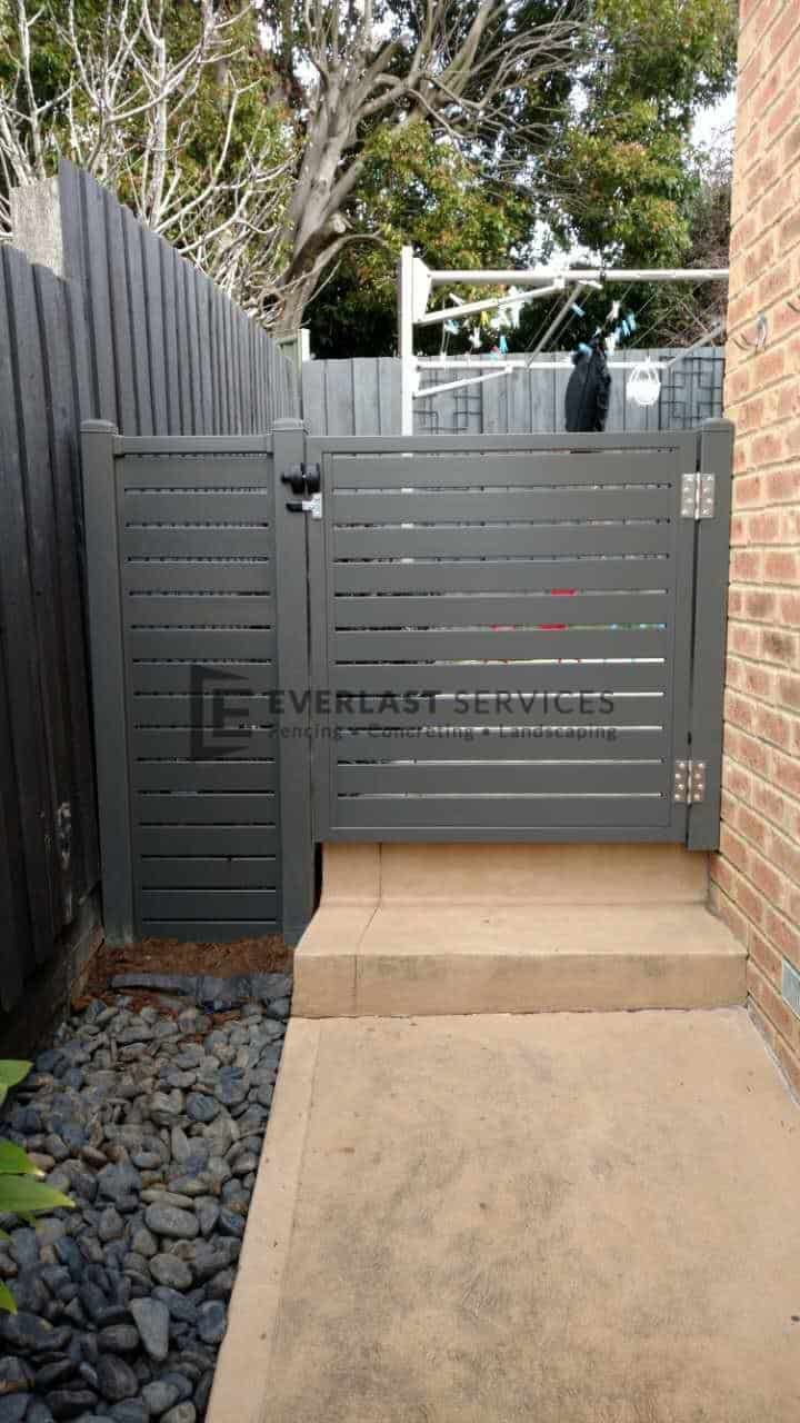 SS78 - Shale Grey Slats Single Gate with Mag Latch