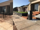 L61 –  Merbau Decking Stairs + Concrete Retaining Wall + Exposed Aggregate Driveway