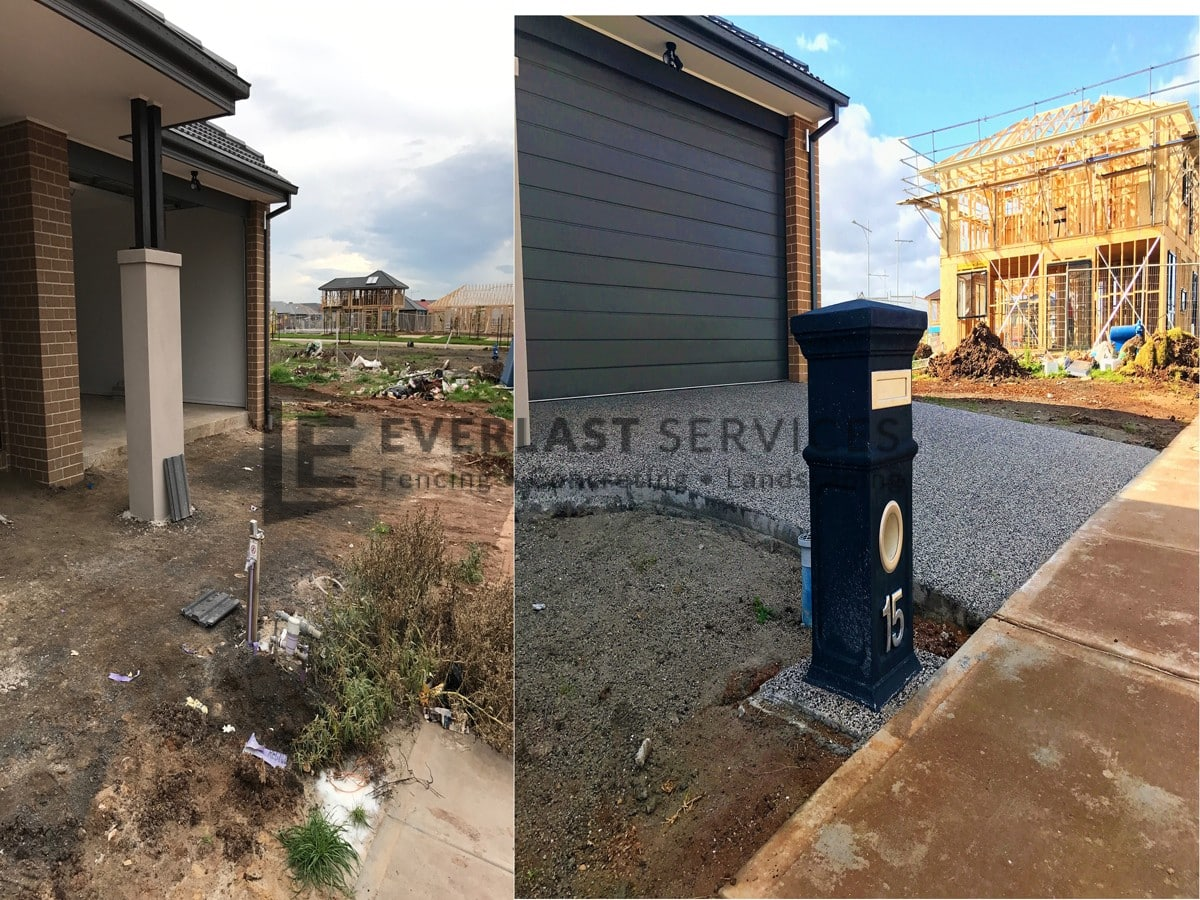 EA40 - Front Driveway Before and After Exposed Aggregate