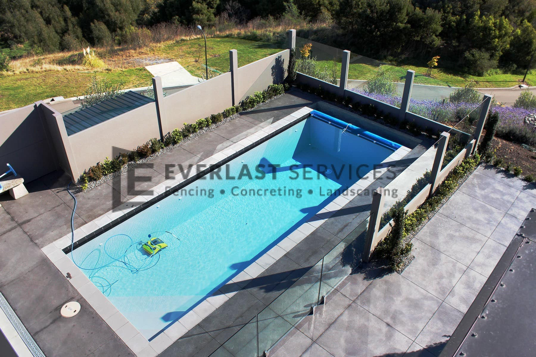 MW 72 - Swimming Pool Birds Eye View + Glass Fence