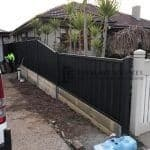 Front View Custom Colourbond Fencing with Retaining Wall