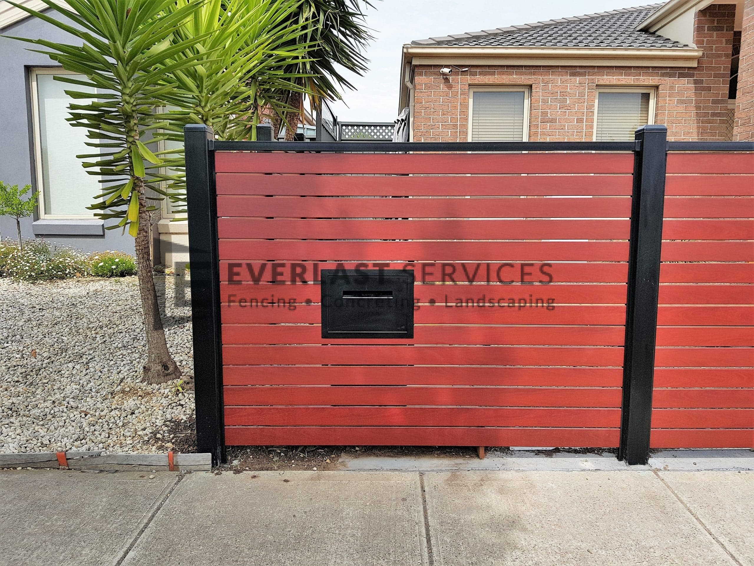 SS141 - Black Post + Frame Jarrah Delivery Eze mailbox