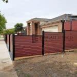 A239 - Black Post + Frame Jarrah Slats Side Fencing