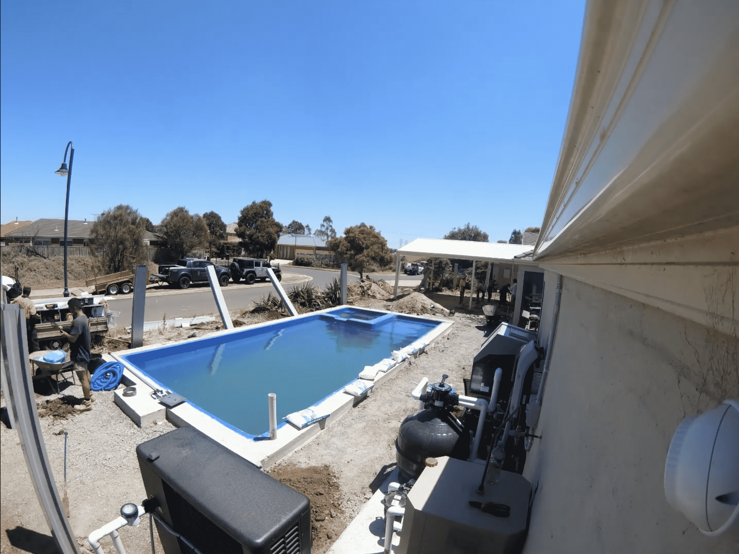 Pool and landscaping under construction