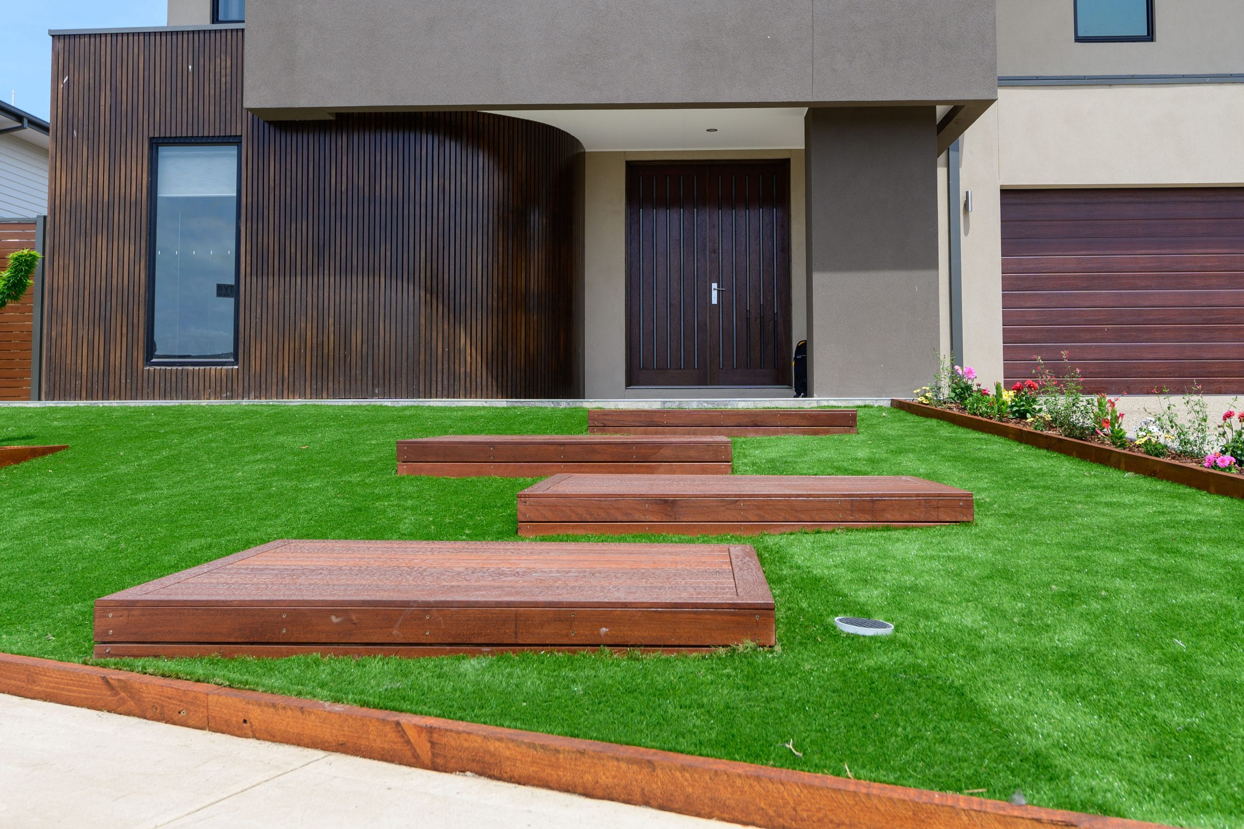 L271 - Point Cook - Front yard with wooden staircase going to front door