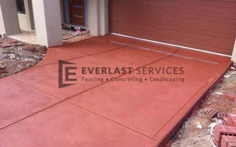 CC4 - Red Coloured Concrete Driveway