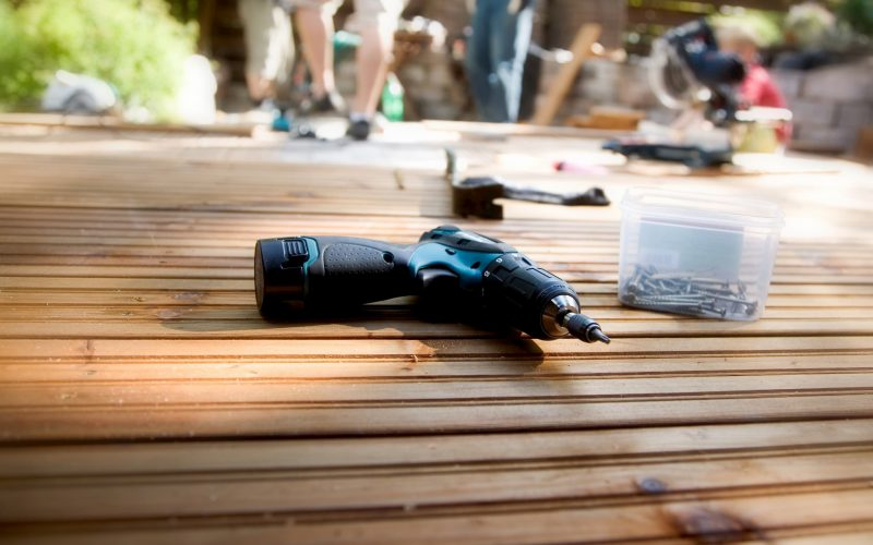 Drill lying on a deck